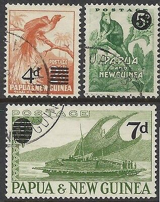 Papua New Guinea 1957-8 4d, 7d, 5d SURCHARGES (3) Very Fine Used SG 16,17,25