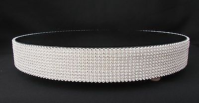 White Crystal  Wedding Cake Stand 16 Inch Across Mirror Top