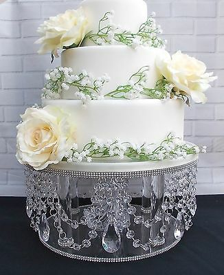 14 inch STUNNING TALL CLEAR ACRYLIC CRYSTAL DIAMANTE WEDDING CAKE STAND