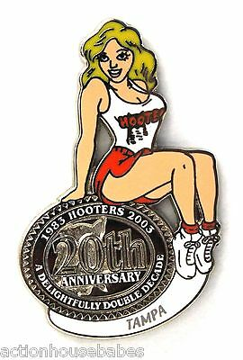 HOOTERS RESTAURANT 20th ANNIVERSARY GIRL TAMPA  LAPEL BADGE PIN