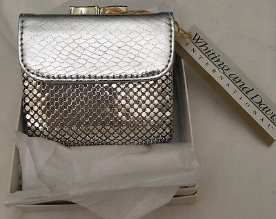 Vintage WHITING & DAVIS Silver Metal MESH & Silver Leather Wallet Kiss Lock