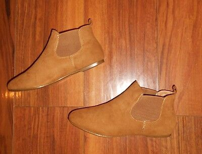 Womens Poshh! New Trendy Comfy Flat Brown Chelsea Ankle Boots: Uk Size 4 (37)