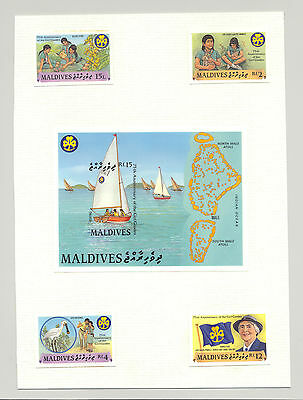 Maldives #1241-1245 Scouts, Girl Guides 4v & 1v S/S Imperf Chromalin Proofs