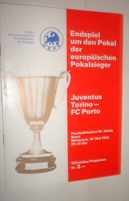 1984 JUVENTUS v FC PORTO European Cup Winners Cup Final programme