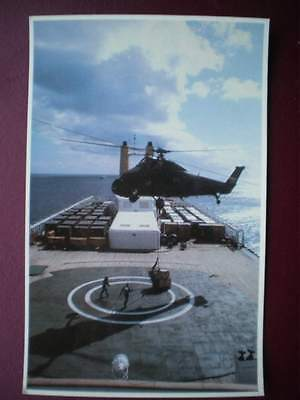 Falklands Task Force Postcard Rp Wwii  Royal Navy Helicopter On Canberra Carryin