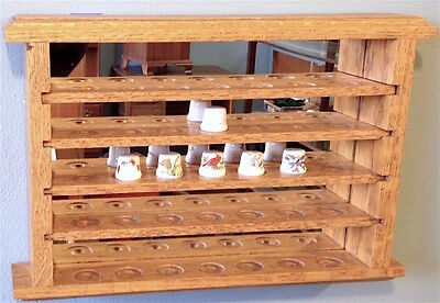 Hand Made Oak Wooden Display Cabinet Mirror 6 Porcelain Thimbles One of a Kind