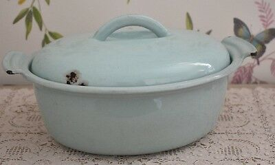 Vintage Duck Egg Blue Cast Iron Oval Casserole Dish With Lid