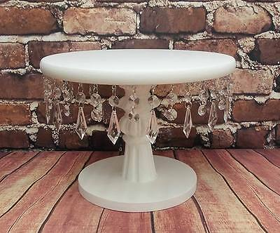 Crystal White Painted Hand Made Wooden Pedestal Wedding Cake Stand