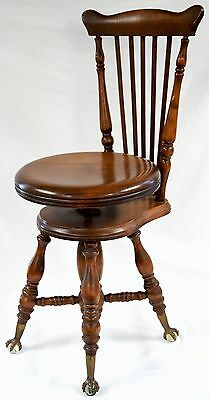 Charles Parker Co. Original Piano Stool Ball Claw Feet MERIDEN Wood Antique Chas