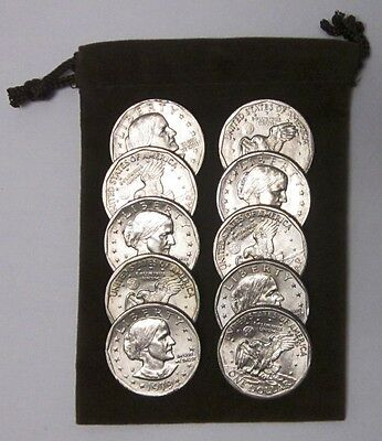 Gift Bag of 10 Unsearched Circulated Susan B. Anthony U.S. Dollar Coins