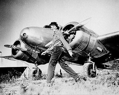 Amelia Earhart and Lockheed Electra 11x14 Silver Halide Photo Print