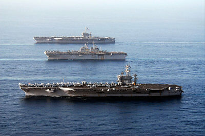 Flagship Aircraft Carriers In Gulf of Oman 12x18 Silver Halide Photo Print