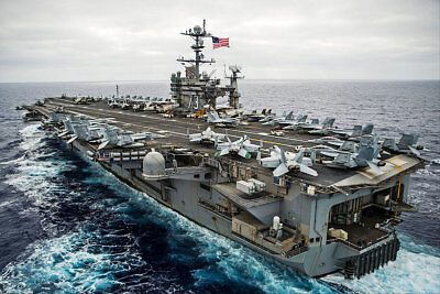 USS George Washington And Carrier Air Wing 5 12x18 Silver Halide Photo Print