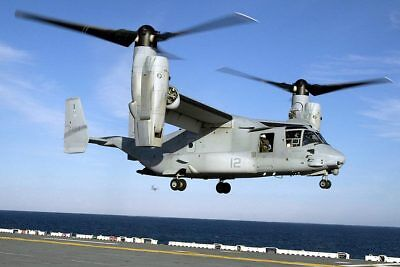 V-22 Osprey Helicopter On LHD 1 USS Wasp 12x18 Silver Halide Photo Print