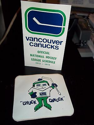 1972 Vntg Vancouver Canucke Chuck Canuck Sticker Decal + Pocket Schedule R&htf