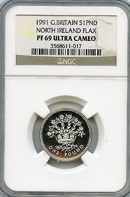 Amazing 1991 NGC PF69 Ultra Cameo Great Britain S1 PND North Ireland Flax NC951