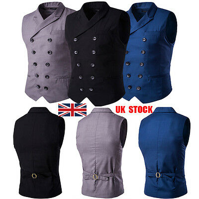 Men Double Breasted Gilets Fit Waistcoat Slim Blazer Business Suit Vest Jackets