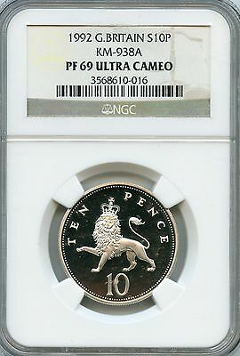 Amazing 1992 NGC PF69 Ultra Cameo Great Britain S10P North KM-938A NC953