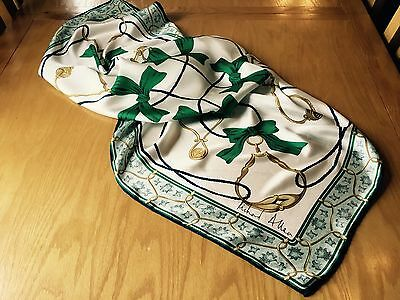 VINTAGE RICHARD ALLAN HAND ROLLED SILK SCARF.  RIBBONS!  VGC.  34 x 34 INCHES.