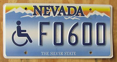 WHEELCHAIR / HANDICAP - NEVADA SILVER STATE license plate  EMBOSSED  2012  F0600