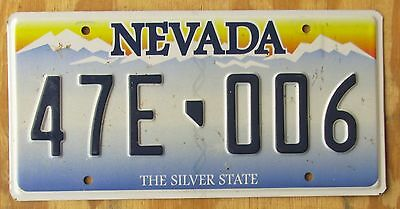 NEVADA SILVER STATE license plate  Oct2013  47E 006  SKINNY EMBOSSED