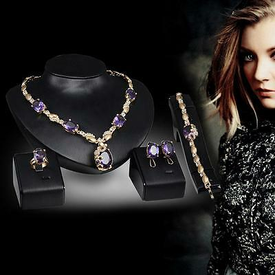 Gold Plated Ruby Sapphire Pendant Jewelry Set Bride Necklace Earring Bracelet SP