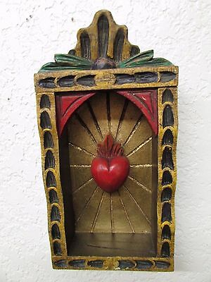 Hand Carved Colorful Retablo Sacred Heart Nicho #2-Mexican Folk Art-6x11.5 in