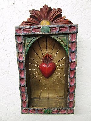 Hand Carved Colorful Retablo Sacred Heart Nicho #3-Mexican Folk Art-6x11.5 in