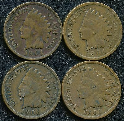 "1901 1904 1906 & 1907 United States ""Indian Head"" 1 Cent Coins"