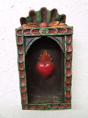 Hand Carved Colorful Retablo Sacred Heart Nicho #4-Mexican Folk Art-6x11.5 in