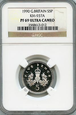 Amazing 1990 NGC PF69 Ultra Cameo Great Britain S5P North KM-937A NC957