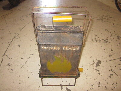 Vintage Portable Hibachi Cast Iron Double Grill Camping Barbeque Cook Stove Rare