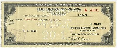 1927 Check House of Crane Cigars Importers & Jobbers Indianapolis, Indiana