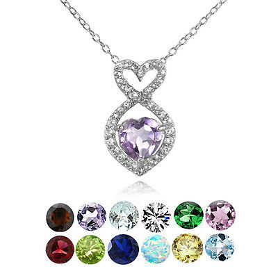 Sterling Silver Gemstone Birthstone Infinity Heart Necklace