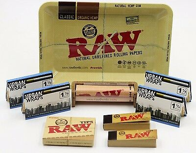 4X Urban Wraps 1 1/2 Cigarette Rolling Papers + RAW TRAY BUNDLE, TIPS, MACHINE