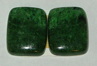 23.4ct EARRING PAIR GREEN MAW SIT SIT JADE CABOCHONS