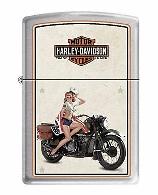 Zippo 9944, Harley Davidson-Marines WWII Pinup, Brushed Chrome Finish Lighter