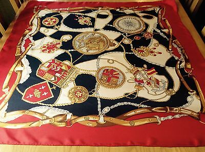 VINTAGE HAND ROLLED NAUTICAL / HERALDIC SILK SCARF.  VGC.  34 x 33 INCHES.  FAB!