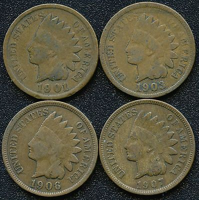 "1901 1903 1906 & 1907 United States ""Indian Head"" 1 Cent Coins"