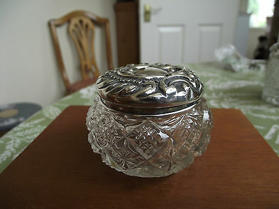 solid silver topped dressing table pot