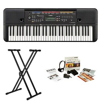 Yamaha PSRE263 61-Key Portable Keyboard with Survivalkit and Knox Double X Stand