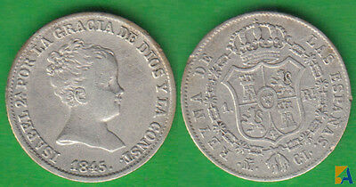 España. Isabel Ii. 1 Real De 1845 Cl. Madrid. Plata.