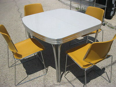 Vintage Kitchen Table With 4 Yellow Chairs
