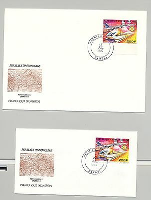 Central Africa 1990 Concorde, Trains, Rotary 1v Perf & Imperf on 2 FDC