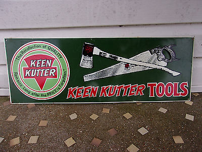 """Vintage 1950s Keen Kutter Axe Hand Saw Tool Farm Gas Oil 21"""" Embossed Metal Sign"""