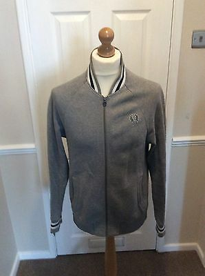 Mens Genuine Fred Perry Grey Tracksuit Top Size Medium Vgc