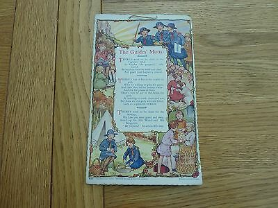 1920s 30s ORIGINAL COLOUR GIRL GUIDES MOTTO CARD WALL HANGING 9 X 5 INCH