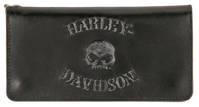 Harley-Davidson Men's Bad Company Skull Trucker Leather Wallet HDMWA11328-BLK