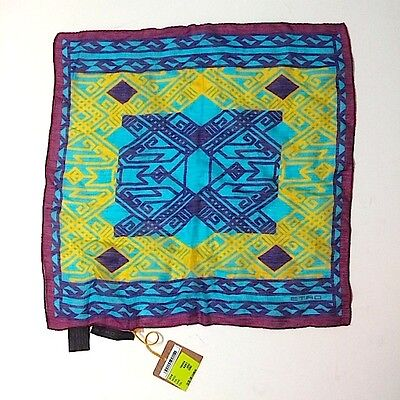 Etro Pocket Square Silk Linen Ethnic Pattern Bold Colors New wit Tag $110