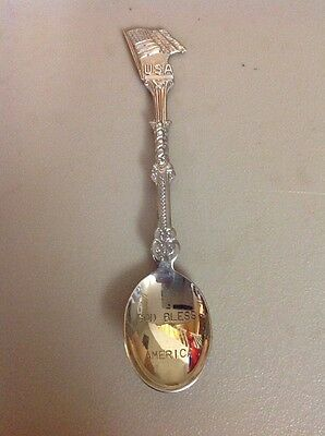 FREE SHIPPING!! VINTAGE ANTIQUE SOUVENIR SPOON- God Bless America Flag